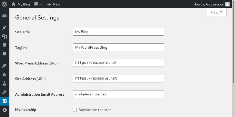 Basic website setting in the WordPress dashboard, including the website URL.