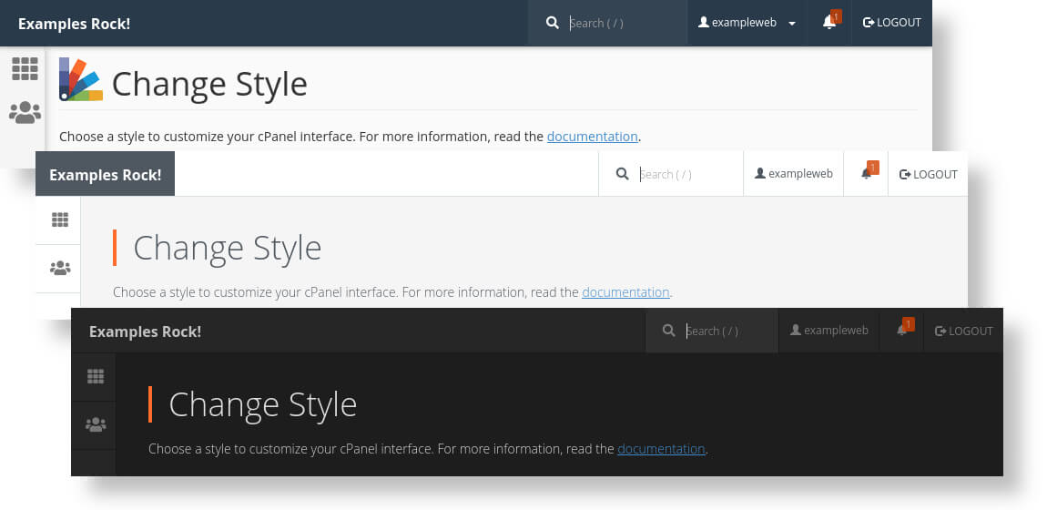 You can replace the cPanel logo in the header. This image shows custom text in the default, light and dark theme.