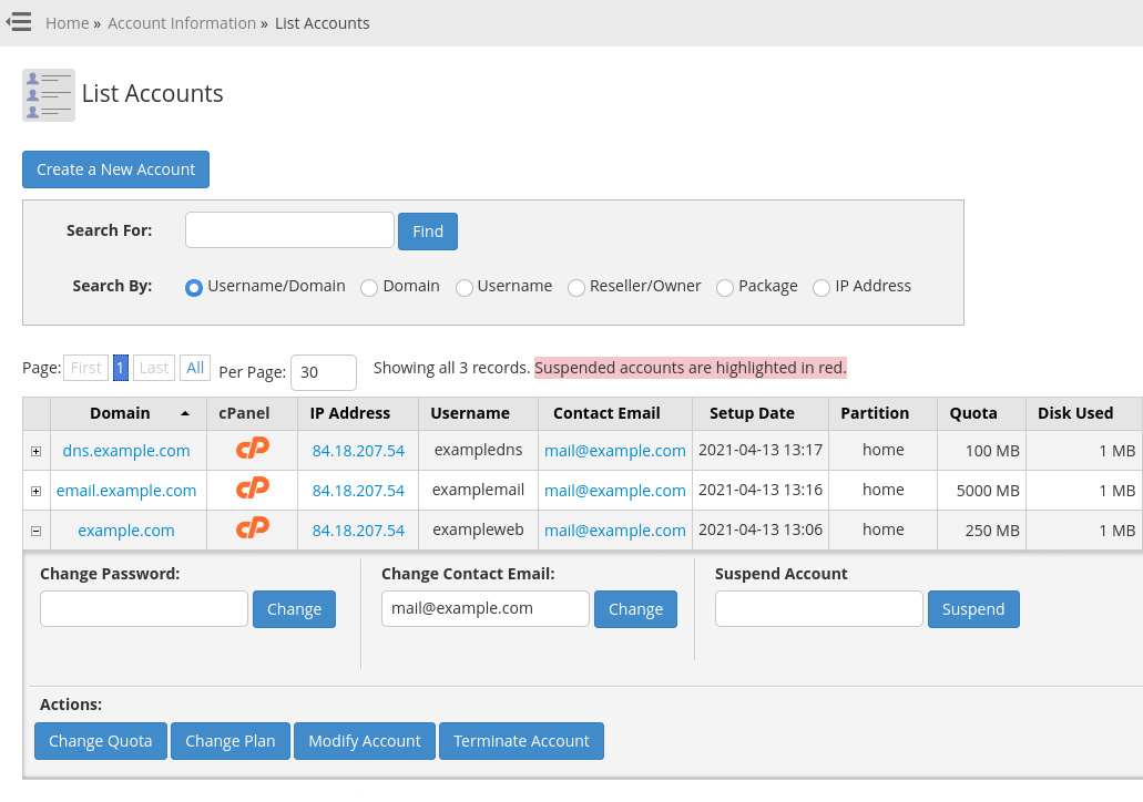 WHM's 'List Accounts' page shows all your cPanel account. You can edit, suspend or remove individual accounts.