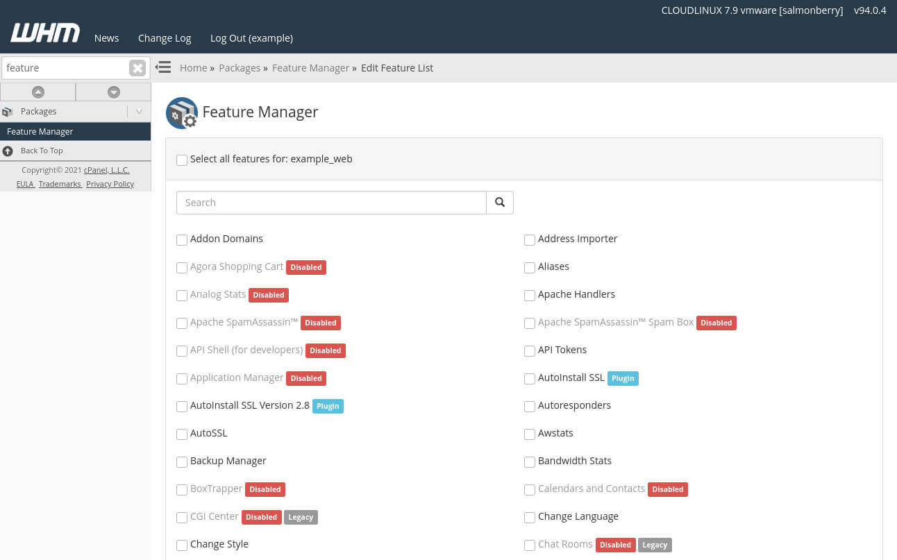 The Feature Manager in WHM lets you create custom feature lists. You can then apply the feature set to one or more cPanel accounts.