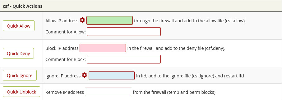 The option to allow, deny or ignore an IP address in the CSF interface.