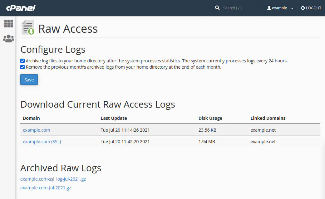 The Raw Access page in cPanel lets you configure and download access logs for your domains.