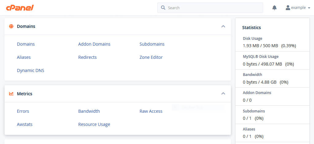 The cPanel control panel for our example.com domain.
