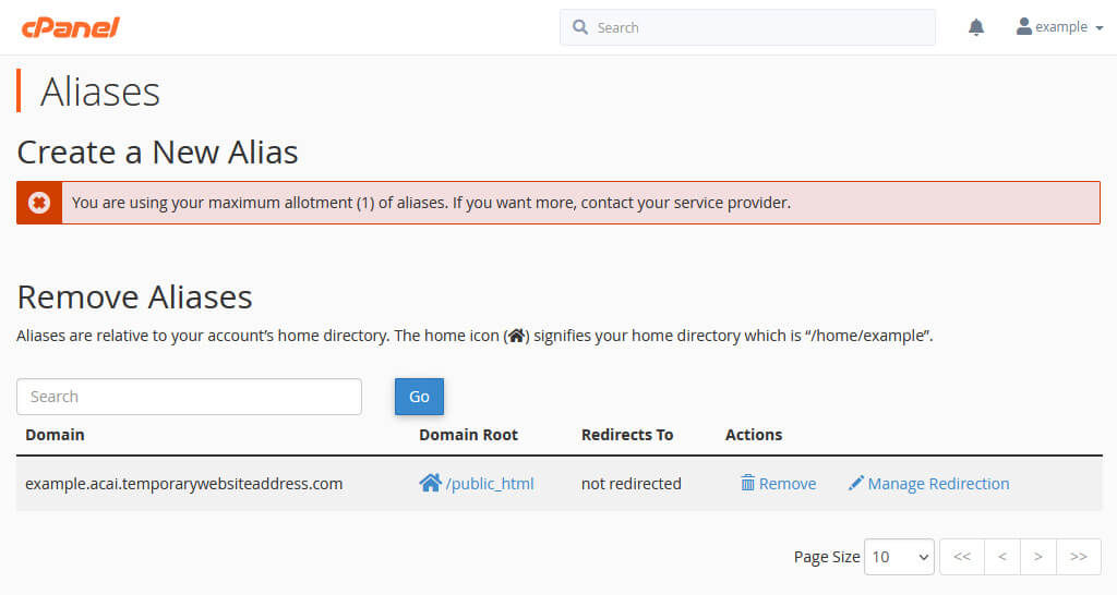 The cPanel Aliases page shows that our example.com site now also has an alias.
