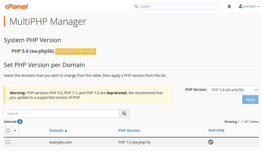 The cPanel MultiPHP Manager shows that the PHP version for example.com has been changed to ea-php74.